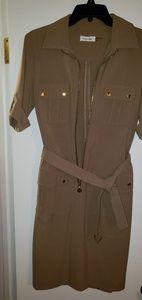 Calvin Klein Belted Safari Style Dress